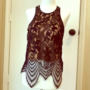 NWT Express Lace Layered Floral Top